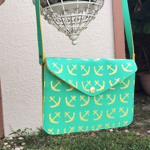 Vintage green and yellow anchor crossbody purse